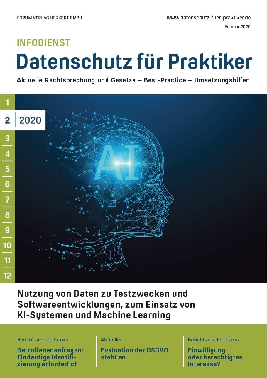Ausgabe Februar 2020<br>Nutzung von Daten zu Testzwecken und Softwareentwicklungen, zum Einsatz von KI-Systemen und Machine Learning
