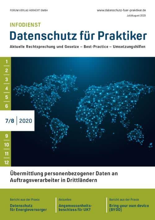 Ausgabe Juli/August 2020<br>Übermittlung personenbezogener Daten an Auftragsverarbeiter in Drittländern